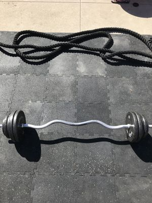 Standard weights(65Lbs) & EZ Curl bar for $60 Firm!!! for Sale in Burbank, CA