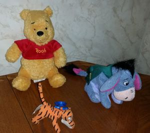 Winnie the Pooh Eeyore Tigger stuffed animal and key chain bundle for Sale in Shelby, OH