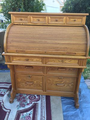 Antique secretary desk solid wood 10 drawers , light , saving space excellent condition 48 x 40 x 25 for Sale in Colton, CA