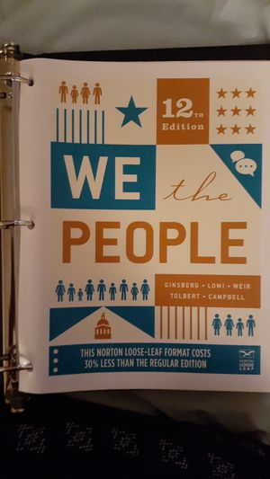 We the people 12 Edition An introduction to American Politics for Sale in Riverside, CA