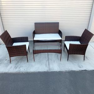 "$190 (new in box) small outdoor patio set 4 pcs wicker rattan furniture seat sizes (37x19"", 19x19"") assembly required for Sale in Whittier, CA"