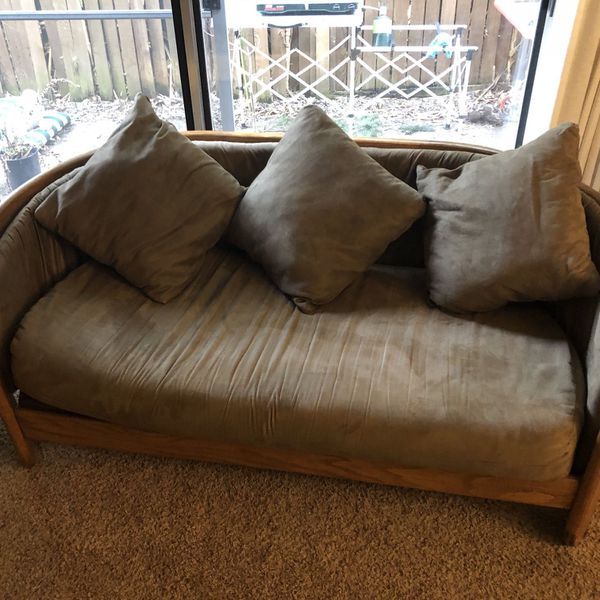 Mid Century Sofa Spindle Back Microsuede