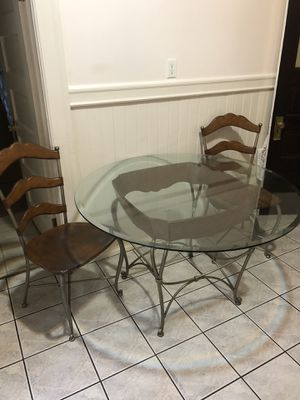 Rustic glass kitchen/dining table and leather chairs for Sale in San Francisco, CA