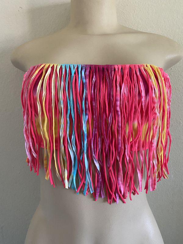Tie Dye Fringe Swim Top
