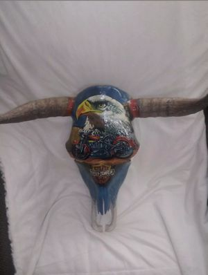 Hand painted Real bull skull Harley Davidson motorcycles excellent condition for Sale in Radford, VA