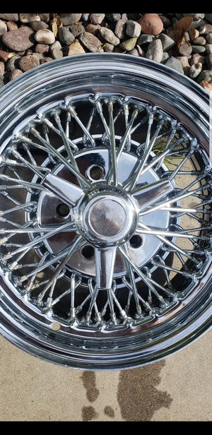 Tru spoke style wires chevy impala caprice fleetline bel air 5 lug 14x6.5 for Sale in Ontario, CA