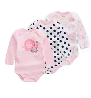 Baby Girls' 3-Pack Long-Sleeve Onesie Cotton (0-3)(3-6)(6-9)m for Sale in Brooklyn, NY