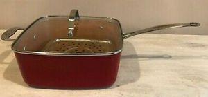 "Red Copper Non-stick Deep Dish Pot 9.5"" Square Glass Lid Steamer Rack for Sale in McDonough, GA"