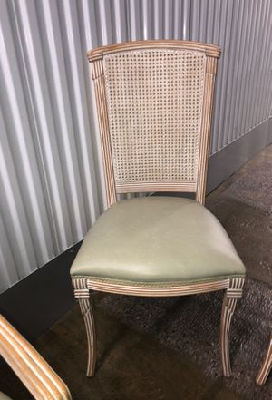 3 Elegant teal chairs and 2 weaved/rattan bar stools 34 inch tall for Sale in Sterling, VA
