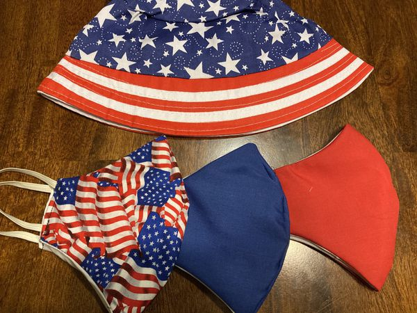 Fourth of July special face maskW/bucket hat