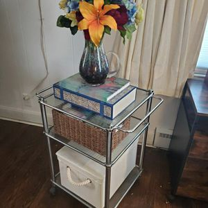 Rolling Extremely Versatile Glass and Metal Bar Cart/Shelf for Sale in Naugatuck, CT