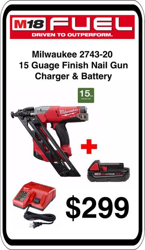 BRAND NEW - Milwaukee M18 2743-20 15ga Nailer Battery & Charger - We accept trades & Credit Cards - AzBE Deals for Sale in Sun City, AZ