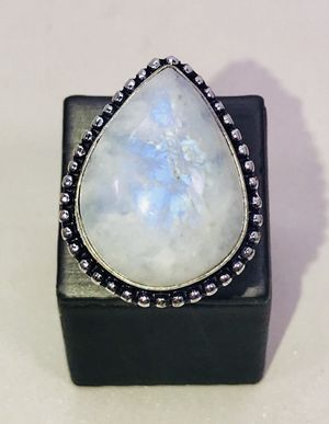 Natural fiery Rainbow 🌈 Moonstone Large Teardrop stone & .925 Stamped Sterling Silver ring size 8 NEW! for Sale in Carrollton, TX
