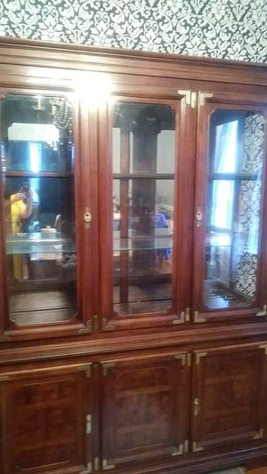 Wood and glass hutch 57 x 78 for Sale in Lynn, MA