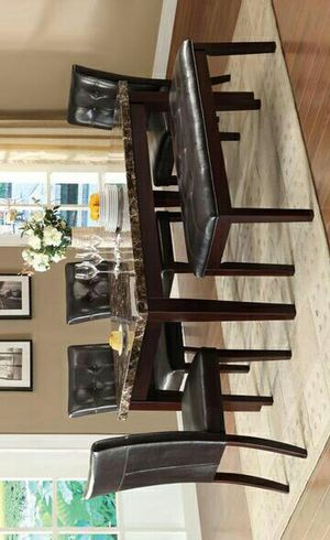 Teague Brown Faux Marble Dining Table   2544 & Ask Dining table and chairs & dinette set for Sale in Houston, TX