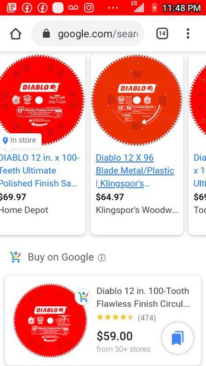 """Diablo 12"""" 100t table saw blade (unused) for Sale in Portland, OR"""