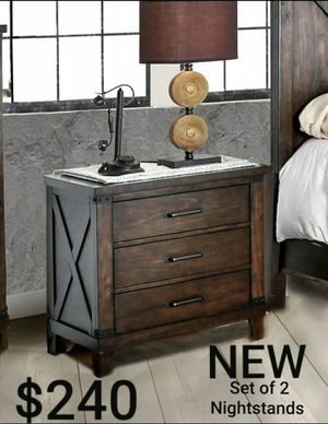 Set of 2 Nightstands in Dark Walnut for Sale in Montebello, CA