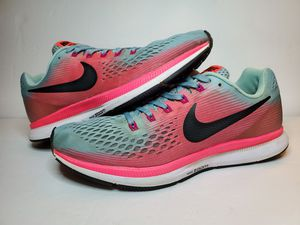 Nike Air Zoom Pegasus 34 Womens Blue Racer Pink Running Training 880560-406 size 10.5 for Sale in Los Angeles, CA
