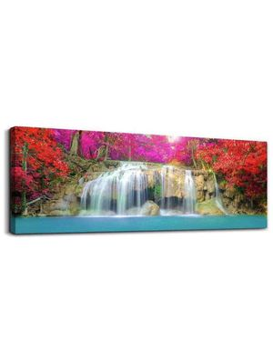 Waterfall Canvas Wall Art Prints Wildlife Pink Purple Tree Landscape Picture Artwork Decor Bedroom Living Room Office Home Wall Decoration 16x48 for Sale in Corona, CA