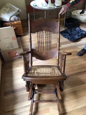 Antique gliding rocking chair with wicker seat in great condition for Sale in Newcastle, WA