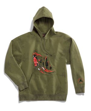 JORDAN x TRAVIS SCOTT WASHED SUEDE OLIVE HOODIE Sz MEDIUM for Sale in Chicago, IL