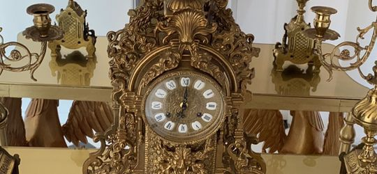 Italian Collectible Brass Clock Set for Sale in Calabasas,  CA