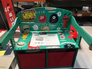 Sends monsters three in one convertible kids desk storage bench and two bins for Sale in Mesa, AZ
