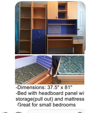 Bed with pull out storage,computer desk furniture,shelves.all for $150 for Sale in Staten Island, NY