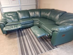 Beautiful Emerald green real leather sectional couch for Sale in Renton, WA