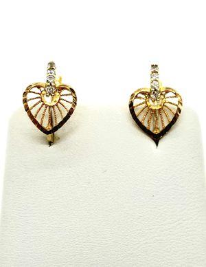18kt gold italian heart dangling earrings for Sale in Los Angeles, CA
