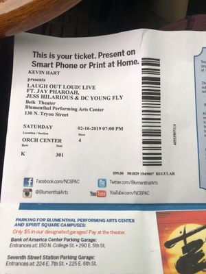 2 tickets to Kevin hart tonight!! for Sale in Charlotte, NC