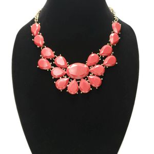 Mika Signed Red Statement Gold Tone Necklace Chunky Teardrop Rhinestone for Sale in Temecula, CA