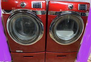 Red Samsung Washing Machine and Steam Dryer Set on Pedestals for Sale in Woodstock, GA