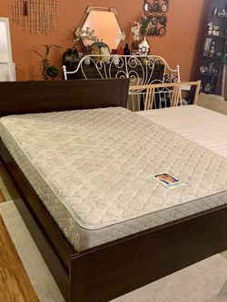 IKEA Brusali Queen Adjustable Height Bed Frame With Two StorageAnd Sealy Posturepedic Firm Double Sides Mattress for Sale in Tacoma,  WA