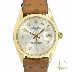 Rolex Mens Oyster Perpertual Date 34mm 14KY Gold Silver Diamond Dial Watch for Sale in Los Angeles, CA