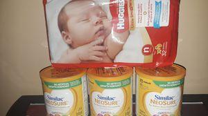 SIMULAC BABY FORMULA .. HUGGIES NEWBORN DIAPERS for Sale in Detroit, MI