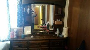 9 drawer antique dresser with mirror 150 for Sale in Cheney, KS