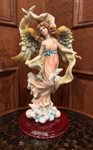Collectible! Dolci Angel Sculpture / Figurine / Statue in Flowing Gown on a Cloud w/ Beautiful Wings and Doves - Coral, Sage, Blue, and Golden Accents for Sale in West Bloomfield Township, MI