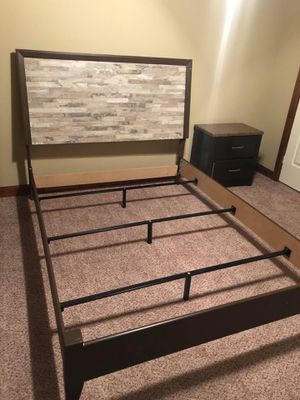 Selling a Queen Size bed frame with two night stand tables for $350 or throw me a offer for Sale in Oklahoma City, OK