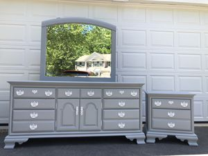 Solid Wood 9 Drawer Long Dresser With Mirror and Nightstand Gray With White Handles for Sale in Woodbridge, VA