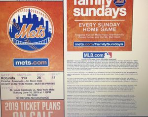 Two Mets tickets for sale for Sale in Lakehurst, NJ