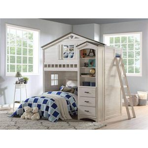 TWIN SIZE TREE HOUSE LOFT BED BOOKCASE Weathered White & Washed Gray for Sale in Chula Vista, CA