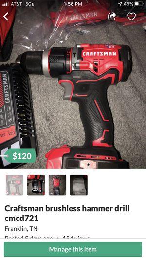 Craftsman brushless hammer drill cmcd721 for Sale in Franklin, TN