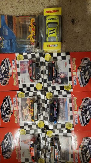 Nascar diecast cars with 6 1994 racing champions cards and cars and 2000 denny Hamlin and a 2005 adult collectibles paul menard for Sale in Rhinelander, WI