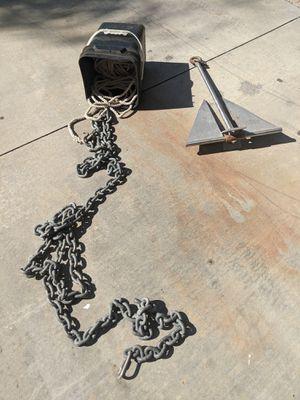 15lb fluke boat anchor - 15ft heavy chain leader, 100ft rope for Sale in Fullerton, CA