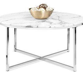 Best Choice Products 36in Faux Marble Modern Round Accent Side Coffee Table for Living Room, Dining Room, Tea, Home Décor w/Metal Frame, Non-Marring F for Sale in Dublin,  OH