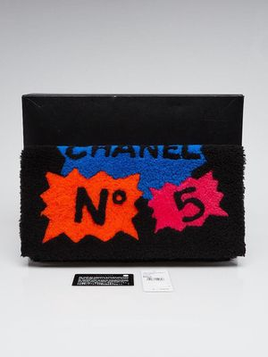 CHANEL Black Multicolor Shearling and Lambskin Leather Comic Clutch Bag for Sale in San Francisco, CA