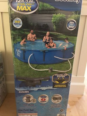 """*IN HAND* Bestway Steel Pro Max 12' x 30"""" Above Ground Swimming Pool w/ Pump for Sale in Greenbrae, CA"""