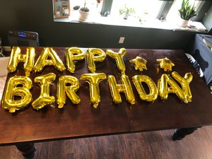 Happy Birthday Balloon Banner in Gold! for Sale in Everett, WA