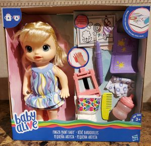 Baby Alive Finger Paint Baby: Blonde Hair Doll, Drinks & Wets, Doll Accessories for Sale in Florissant, MO